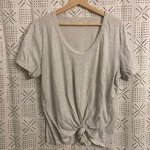 Super Soft Knot Front Light Grey Tee